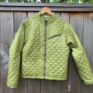 Obermeyer green quilted jacket, women's size 14